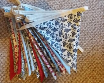 Handmade red and blue floral fabric bunting - double sided - 5m