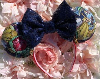 Beauty/ beast/ belle/ rose/ gold/ bow/ headband/ love/ dance/ dancing/ purple