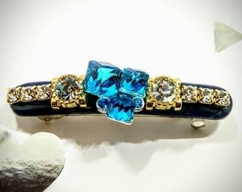 Beautiful handmade Custom French Barrett Clip. (Blue Crystal)