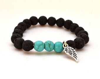 Sky bracelet / Feather bracelet /  black bracelet / Beaded bracelet / Men bracelet / summer bracelet / hippie Bracelet/ Boho Bracelet