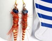 bijoux artisanaux, Boucle d'oreille textile bohème, pendante céramique, marin, rayé rouge, nautique, plage, marinière, faites main, France