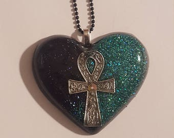 Ankh pendant sparkly teal/black