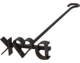Custom Wedding Branding Iron With Heart Between Bride and Groom Initials For Wood & Leather