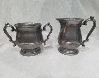 Vintage-Pewter-Creamer-Sugar-Silver tone-Kitchen ware-Home Decor-Serving ware