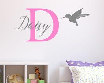 Personalised Hummingbird Wall Sticker Wall Decal Childrens Kids Nursery Bedroom Playroom Vinyl
