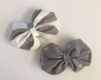 Girls hair bow, jersey knit bow, gray bow, baby bow headband, little girl headband, baby shower, puff bow