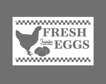 Fresh Eggs Hen Stencil, Kitchen Stencil, Farmhouse stencil, Country Stencil, Primitive Stencil, reusable stencil, Chicken Stencil