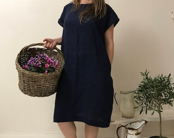 Linen Oversized Navy blue linen tunic, Minimal Linen summer Linen Tunic Dress Short Sleeves Stone washed Soft linen dress Pluss Size Large