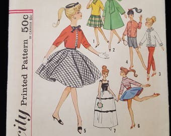 "Vintage Simplicity 4700 Teen Model Barbie 11 1/2"" fashion retro 1960 doll clothes Mitzi Babette Gina Babs Kay Tina Tina Marie Polly sewing"