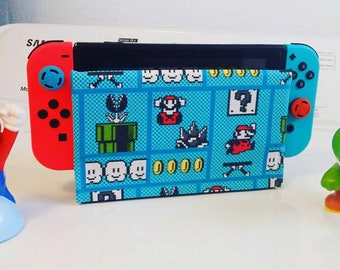 1 new nintendo switch dock sock cover sleeve Screen Protector 8 bit blue mario bros