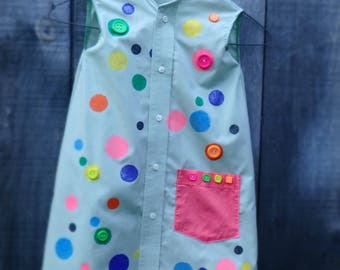 Hand made Upcycled Girl's Shirt dress, Hand painted Polka dots,Age 3 - 4.