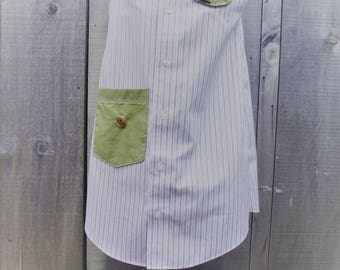 Hand Made Upcycled Girl's dress from Men's shirt. Age 7.  Purple pinstripe.