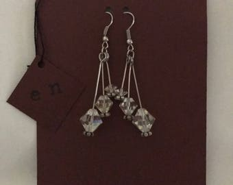 Triple Sterling Silver dangle earrings with clear beads