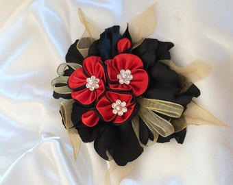 black and Red-A satin ribbon kanzashi flower you choose the backing: hair clip, brooch, comb or headband