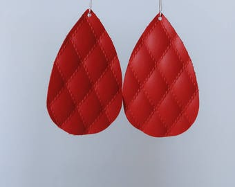 Quilted Red Leather Earrings, Teardrop Leather Earrings, Drop Earrings, Everyday Earrings, Leather Drop Earrings, Earrings, Dangle Earrings