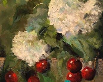 Print: Snow Cherries