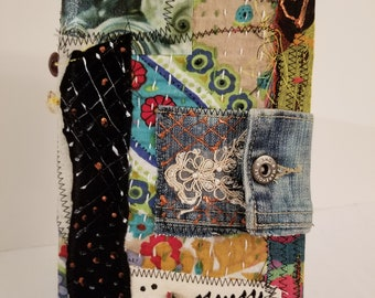 BOhO Bohemian Hippy Blank Journal / Sketchbook / Art Book Draw Paint Charcoal Patchwork Watercolor Funky Buttons Vintage Beads OOAK