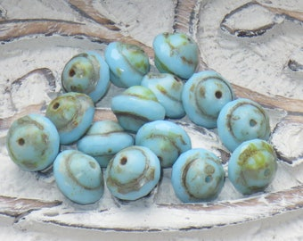 Czech Glass Saturn Beads, Saucer Beads, Aqua Czech Beas, Aqua Saturn Beads (15)