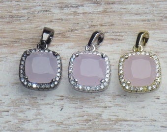 Cz Crystals and Pink Swarovski Square Charms in Gunmetal, Gold and Silver Settings