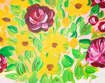 Summer bouquet Interior with yellow daisies and burgundy roses interior art decor interior flowers interior 12/16 Inches