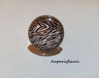 silver plated Adjustable ring Zebra