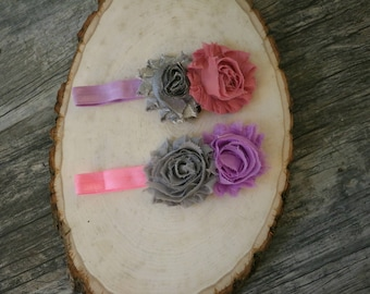 Silver, Pink and Purple Flower Headband