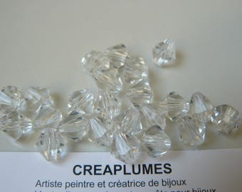 Set of 20 large 10mm clear bicone beads