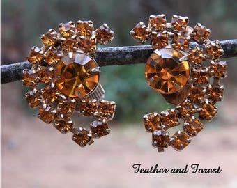 Vintage Orange Rhinestone Earrings Gold Rhinestone Earrings Orange Rhinestone Screw Back Earrings Fall Earrings Fall Wedding Earrings