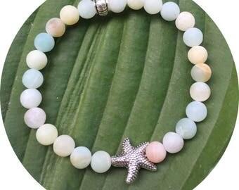 Amazonite Starfish Charm Bracelet