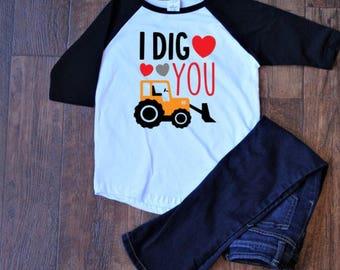 I Dig You baseball tee | boys valentine shirt | boys valentine | boys valentine outfit | valentine shirt | kids valentine shirts