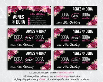 Dora Dollars, Agnes and Dora Cash Card, Custom Agnes And Dora, Agnes Dora Floral Flower Cards, Digital Agnes and Dora, Printable File AG16