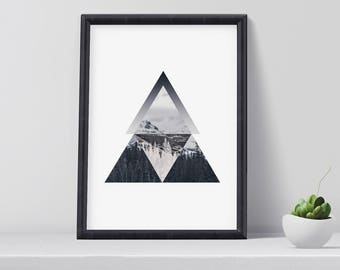 Modern Mountain Art Print, Scandinavian Art, Mountain Wall Art, Modern, Contemporary Art, Digital Download, Home Decor, Christmas gift idea