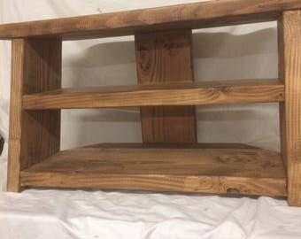 Handmade wooden tv stand made in Devon