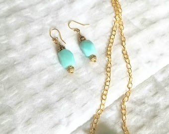 Amazonite necklace and earring set