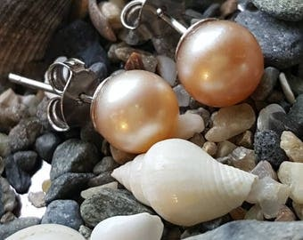 Sterling Silver Genuine Freshwater Pearl Post Earrings