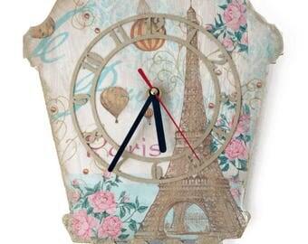 Summer in Paris. (Hand decorated clock)