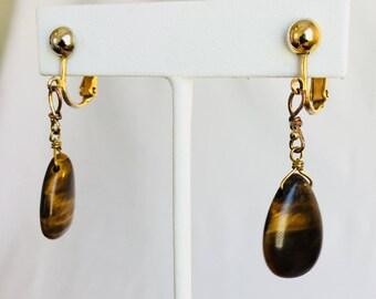 Tiger's Eye Gold Tone Vintage Screwback Dangle Earrings