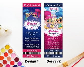 Personalized Shimmer and Shine Ticket Birthday Invitation Party Printable Glitter Pink and Blue DIY - Digital File