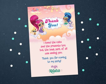 Personalized Shimmer and Shine GeniesThank You Card Birthday Party Printable DIY - Digital File