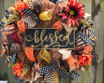Blessed autumn/fall wreath