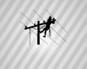 lineman Silhouette - Svg Dxf Eps Silhouette Rld RDWorks Pdf Png AI Files Digital Cut Vector File Svg File Cricut Laser Cut