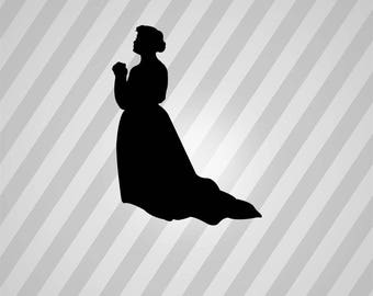 praying woman Silhouette - Svg Dxf Eps Silhouette Rld RDWorks Pdf Png AI Files Digital Cut Vector File Svg File Cricut Laser Cut