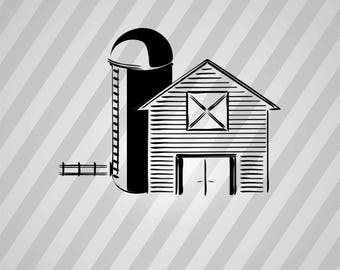 Barn And Silo Silhouette -  Svg Dxf Eps Rld Rdworks Pdf Png Ai Files Digital Cut Vector File Svg File Cricut Laser Cut