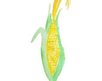 Watercolor Corn on the Cob - Printable Downloadable Clipart