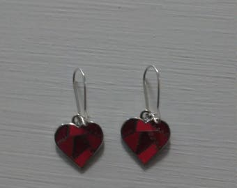 Red Quilted Red Heart Earrings