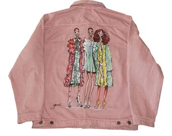 Gucci Girls oversized hand-painted denim jacket