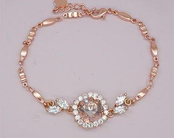 Blush Bridesmaid Bracelet blush pink Wedding Bracelet Rose Gold Bridal Bracelet Peach Bridesmaid Jewelry Champagne Bridesmaids Git Silver