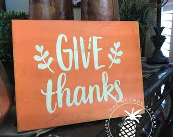 Give Thanks // Harvest Time // Fall // Wood Sign