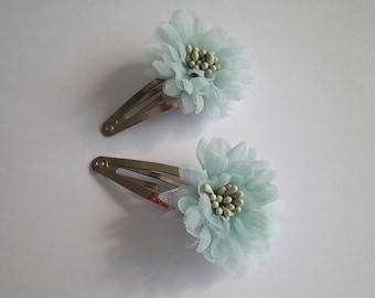 Light blue tulle flower hair clip