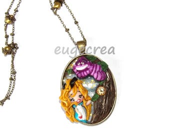 Cameo necklace Alice to Wonderland with polymer clay country